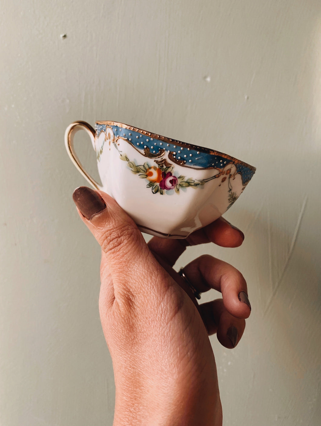 Antique Hand~painted Oriental Bone China Cup