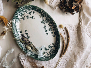 Antique Teal Green Dish