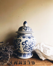 Load image into Gallery viewer, Large Vintage Blue Decorative Ceramic Pot with Lid