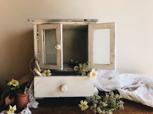 Load image into Gallery viewer, Rustic White Unit (storage with draw & glass doors)