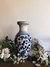 Load image into Gallery viewer, Vintage Blue & White Floral White Vase