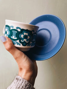 1970s Staffordshire Retro Blue Cups