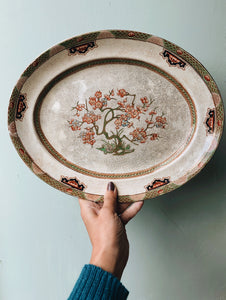Large Antique Decorative Serving Dish ~ crazing galore (UK shipping only)