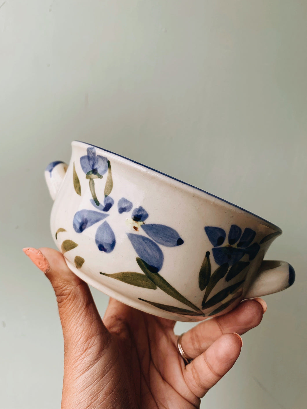 Vintage Hand~painted Blue Floral Bowl