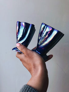 Two Vintage Iridescent Blue Posy Vases