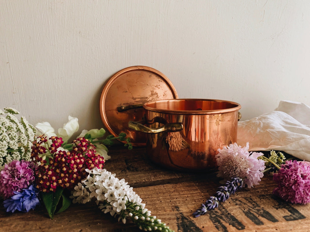 Vintage Copper Brass Pot with Top