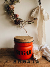 Load image into Gallery viewer, 1960's Polish Red Sugar Enamel Storage Jar