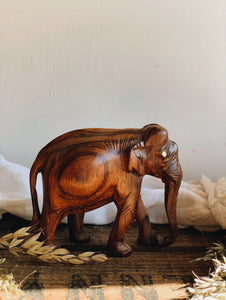 Rustic Hand~carved Wooden Elephant
