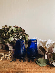 Two Antique Cobalt Blue Glass Pots