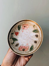 Load image into Gallery viewer, Vintage Brass Hand~painted Floral Enamel Dish