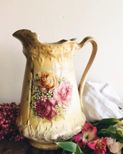 Antique Yellow Rose Rocco Vase