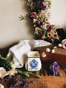 Vintage French Blue Pot ~ Timeless Candle Clearing Sage, Eucalyptus, Lavender, Orange, Cedar Wood & Oak Moss