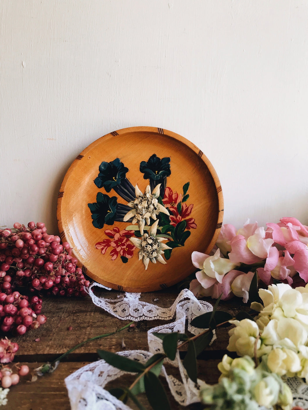 Hand~painted Floral Wooden Dish (artwork hanging)