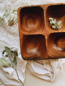 Rustic Wooden Compartment Dish