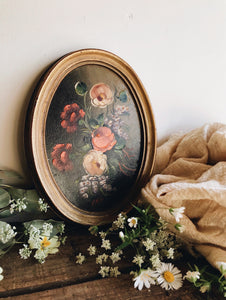 Vintage Floral Signed Oil Painting