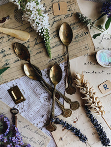 Six Vintage Brass Tea Spoons