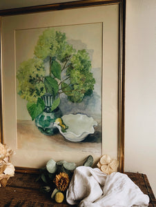 Fine Art Painting Framed and Signed ~ Billowing Blooms in vase and Shell Dish (UK shipping ONLY)