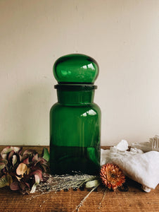 Large Vintage Green Glass Jar (apothecary)