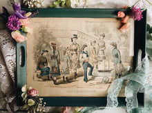 Load image into Gallery viewer, Antique 1880 The Ladies Newspaper ~ Paris Fashion Illustration Plate Set in a Tray