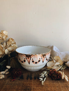 Antique Gilt Orange Floral Bowl