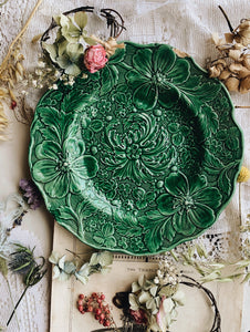 Vintage Green Floral Decorative Plate