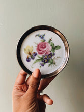 Load image into Gallery viewer, Vintage European Rose Ceramic Dish set in Silver (plated)