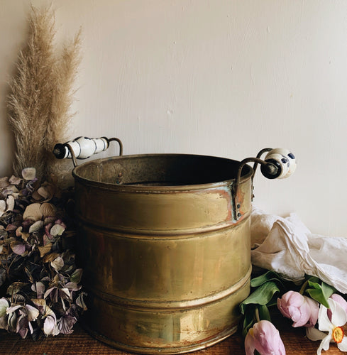 Large Antique Brass (planter) Bucket with Ceramic Floral Handles (lots of patina and rustic charm UK SHIPPING ONLY)