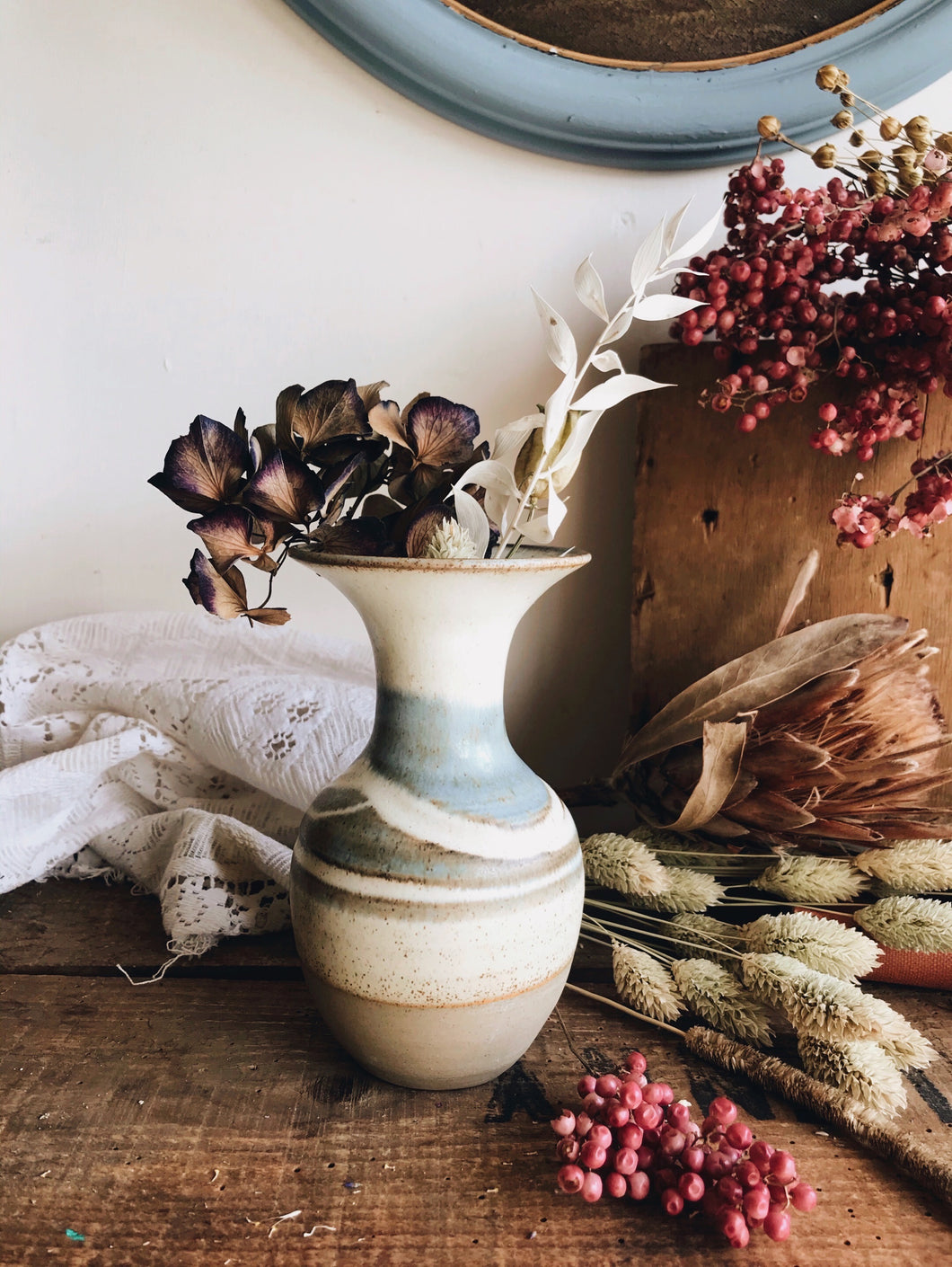 Rustic Hand~thrown Blue and Green Vase