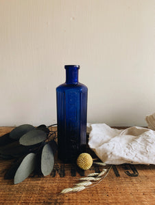 Antique Cobalt Blue Apothecary Bottle ~ not to be taken monogramed