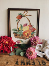 Load image into Gallery viewer, Vintage Floral Basket Embroidery Framed