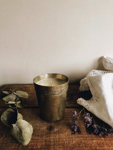 "Vintage French Pewter Engraved Cup ~ ""and relax"" candle (lavender)"