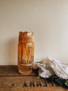 Vintage 1940's Orange Iridescent Glass Decorative Vase