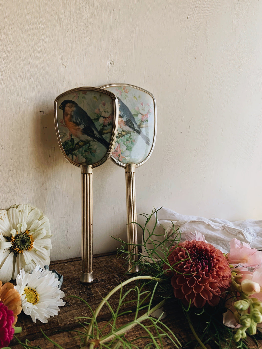 Vintage Bird Vanity ~ Mirror & Brush Set