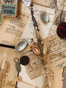 S&S signature vintage Ephemera & styling prop collections ~ forget me not