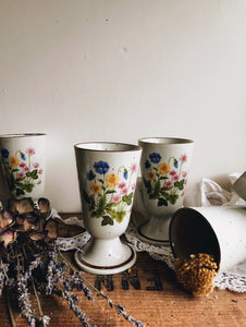 Vintage Floral Speckle Ceramic Tea Goblets (sold separately)
