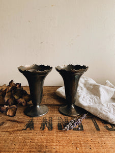 Two Vintage Pewter Posy Vases