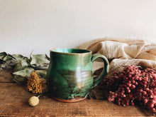 Load image into Gallery viewer, Rustic Green Glazed Terracotta Mug