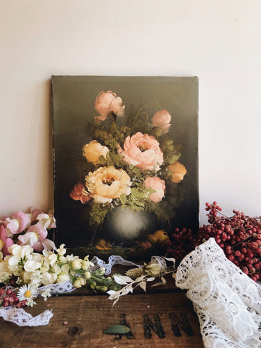 Vintage Signed Peonies Oil ~ painting (canvas)