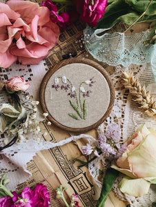 Vintage Snowdrops Embroidery Hoop / Hanging