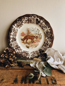 Vintage Royal Worcester Fox ~ game series plate