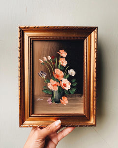 Vintage Rossi Pink Blooms Oil Painting