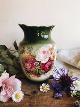 Load image into Gallery viewer, Antique Green Rose & Blooms Vase