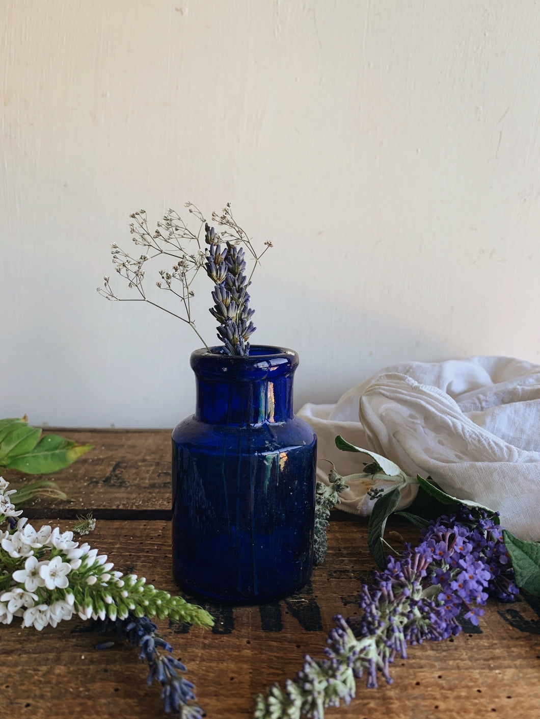 Antique Cobalt blue Glass Pot / Bottle