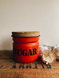 1960's Polish Red Sugar Enamel Storage Jar
