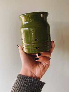 Rustic Hand~thrown Green Glazed Holder (tea light)
