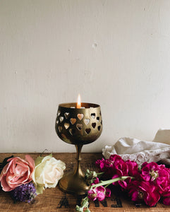 Vintage French Rustic Brass Heart Candle Holder