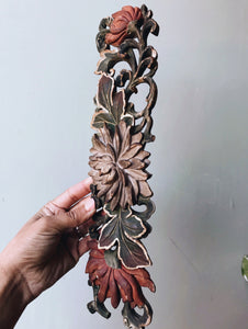 Antique Early 1900's Wooden Floral Decorative Mould
