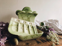 Load image into Gallery viewer, Antique French Green Floral Ceramic Soap Dish & Toothbrush Holder