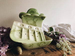 Antique French Green Floral Ceramic Soap Dish & Toothbrush Holder