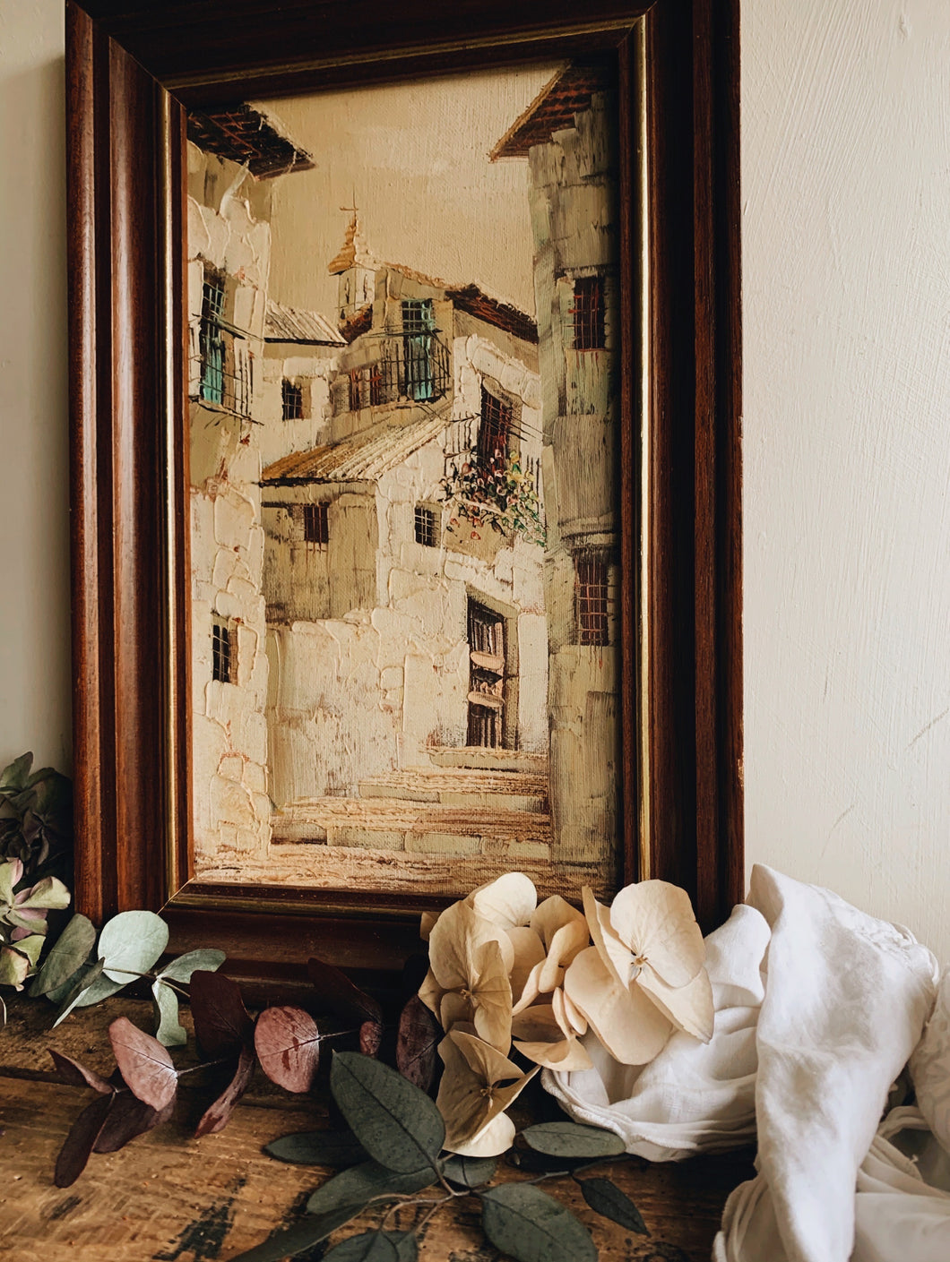 Rustic French (depicted town) Painting in Frame